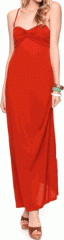 Coral Draped Knit Maxi-Dress