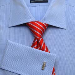 Men's Blue Dogtooth Check Luxury Cotton Shirt - Non Iron