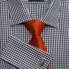 Navy Gingham Check Men's Classic Business Shirt