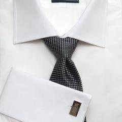 Plain White End-on-End Men's Business Shirt-