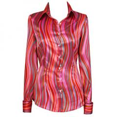 Ladies Luxury Pink & Orange Wavy Stripe Satin Shirt