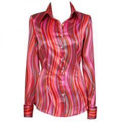 Ladies Luxury Pink & Orange Wavy Stripe Satin Shirt