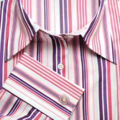 Ladies Quality Pink & Purple Stripe Slim-Fit Shirt