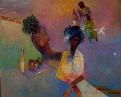 Hairdo, Oil by Duke Asidere