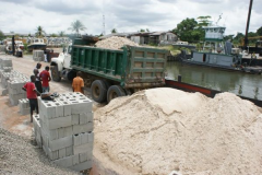Building materials, blocks, concrete, sand