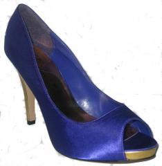 Purple Satin and Gold Heels