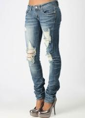Destroyed rhinestone skinny jeans