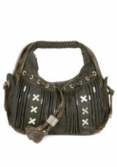 Green Faux Leather Shoulder Bag