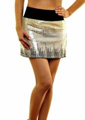 Black,gold and silver short skirt