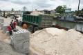 Building materials, blocks, concrete, sand